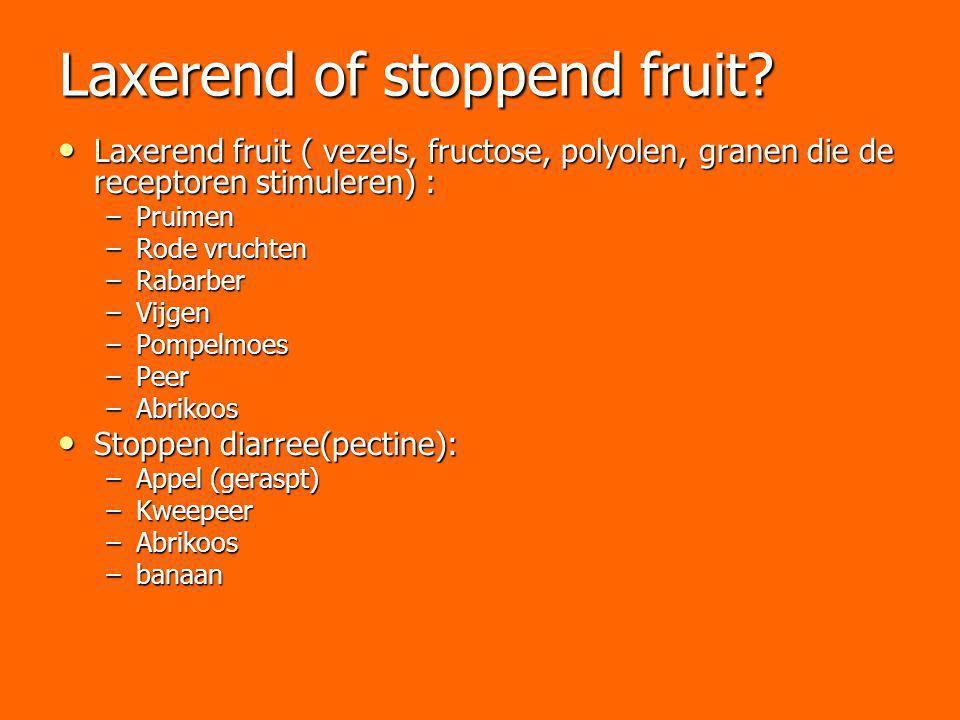 Laxerend of stoppend fruit? Laxerend fruit ( vezels, fructose, polyolen, granen die de receptoren stimuleren) : Laxerend fruit ( vezels, fructose, pol
