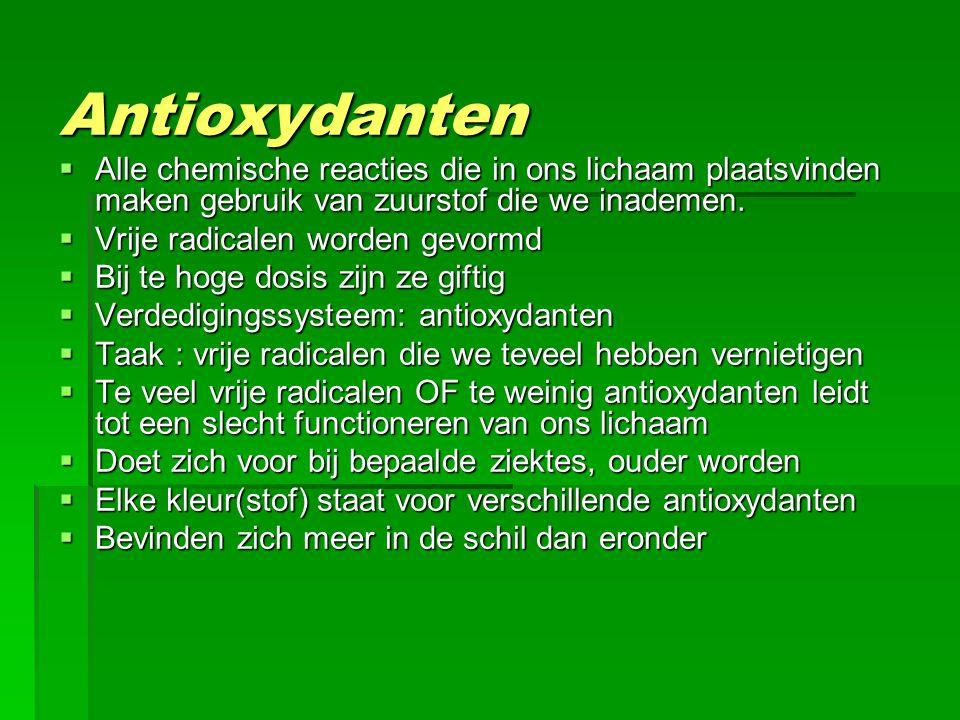 Antioxydanten  Alle chemische reacties die in ons lichaam plaatsvinden maken gebruik van zuurstof die we inademen.  Vrije radicalen worden gevormd 