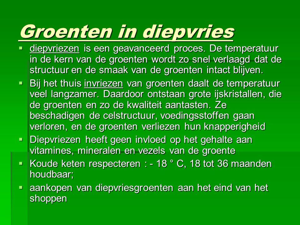 Groenten in diepvries  diepvriezen is een geavanceerd proces.