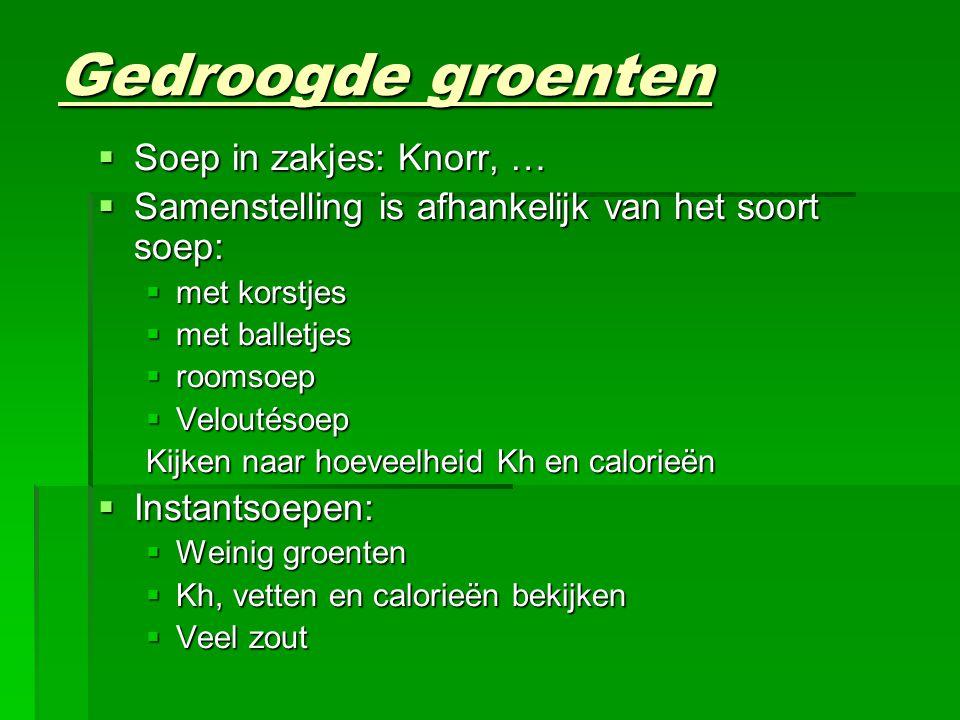Gedroogde groenten  Soep in zakjes: Knorr, …  Samenstelling is afhankelijk van het soort soep:  met korstjes  met balletjes  roomsoep  Veloutéso
