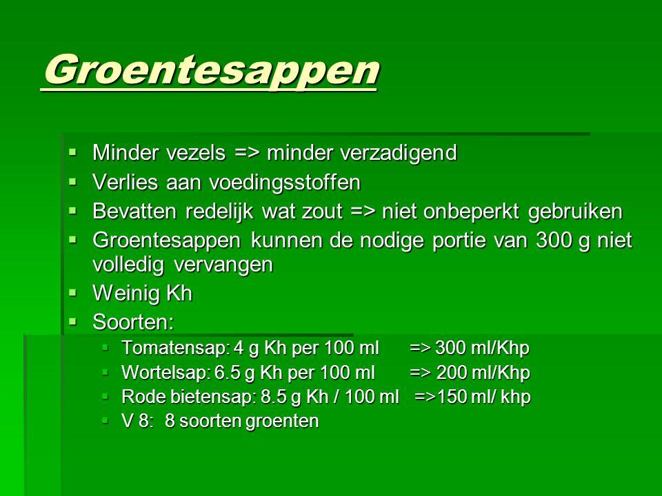 Groentesappen  Minder vezels => minder verzadigend  Verlies aan voedingsstoffen  Bevatten redelijk wat zout => niet onbeperkt gebruiken  Groentesa
