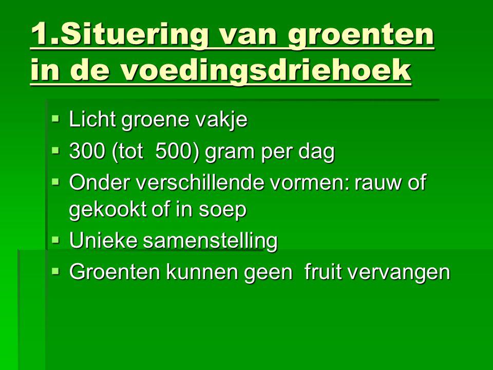 1.Situering van groenten in de voedingsdriehoek  Licht groene vakje  300 (tot 500) gram per dag  Onder verschillende vormen: rauw of gekookt of in soep  Unieke samenstelling  Groenten kunnen geen fruit vervangen