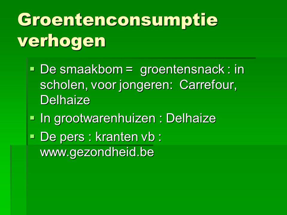Groentenconsumptie verhogen  De smaakbom = groentensnack : in scholen, voor jongeren: Carrefour, Delhaize  In grootwarenhuizen : Delhaize  De pers : kranten vb : www.gezondheid.be