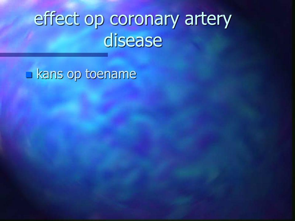 effect op coronary artery disease n kans op toename