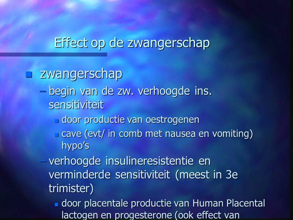 Effect op de zwangerschap n zwangerschap –begin van de zw. verhoogde ins. sensitiviteit n door productie van oestrogenen n cave (evt/ in comb met naus