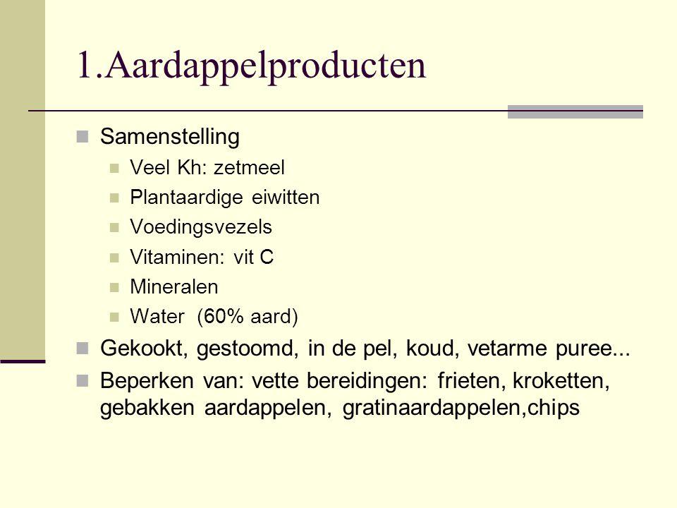 1.Aardappelproducten Samenstelling Veel Kh: zetmeel Plantaardige eiwitten Voedingsvezels Vitaminen: vit C Mineralen Water (60% aard) Gekookt, gestoomd