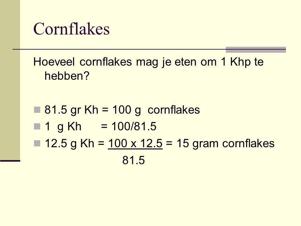 Cornflakes Hoeveel cornflakes mag je eten om 1 Khp te hebben? 81.5 gr Kh = 100 g cornflakes 1 g Kh = 100/81.5 12.5 g Kh = 100 x 12.5 = 15 gram cornfla