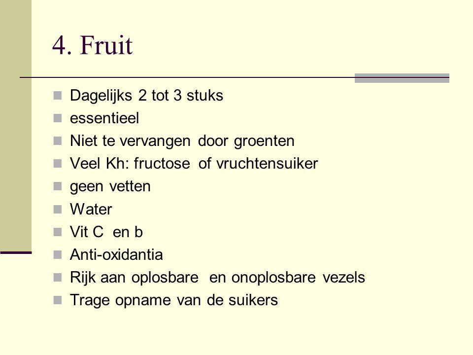 4. Fruit Dagelijks 2 tot 3 stuks essentieel Niet te vervangen door groenten Veel Kh: fructose of vruchtensuiker geen vetten Water Vit C en b Anti-oxid