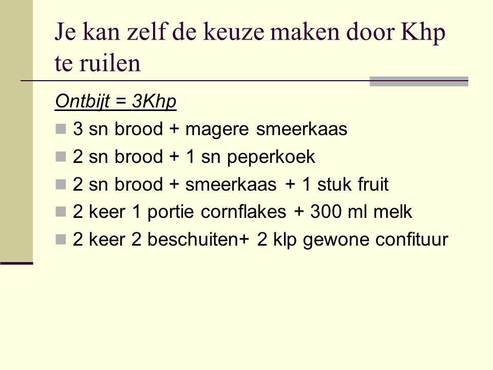 Je kan zelf de keuze maken door Khp te ruilen Ontbijt = 3Khp 3 sn brood + magere smeerkaas 2 sn brood + 1 sn peperkoek 2 sn brood + smeerkaas + 1 stuk