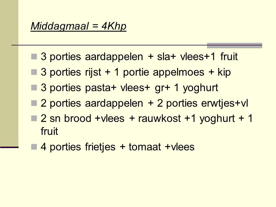 Middagmaal = 4Khp 3 porties aardappelen + sla+ vlees+1 fruit 3 porties rijst + 1 portie appelmoes + kip 3 porties pasta+ vlees+ gr+ 1 yoghurt 2 portie