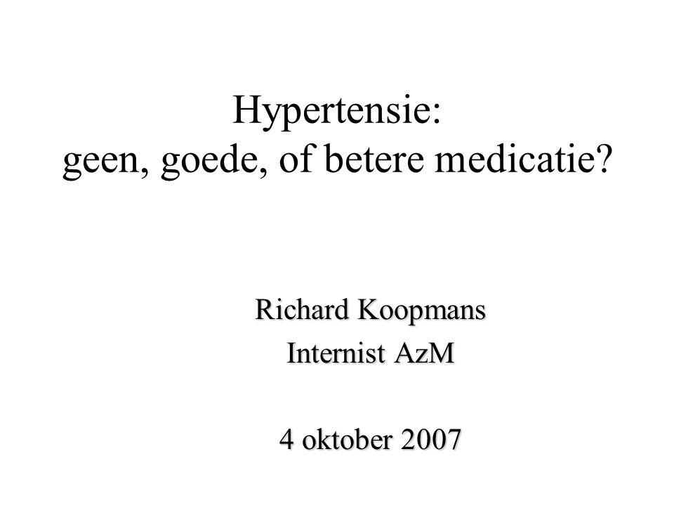 Hypertensie: geen, goede, of betere medicatie? Richard Koopmans Internist AzM 4 oktober 2007
