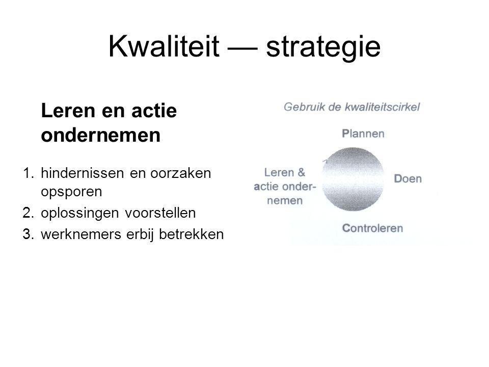 Kwaliteit — strategie Leren en actie ondernemen 1.hindernissen en oorzaken opsporen 2.oplossingen voorstellen 3.werknemers erbij betrekken