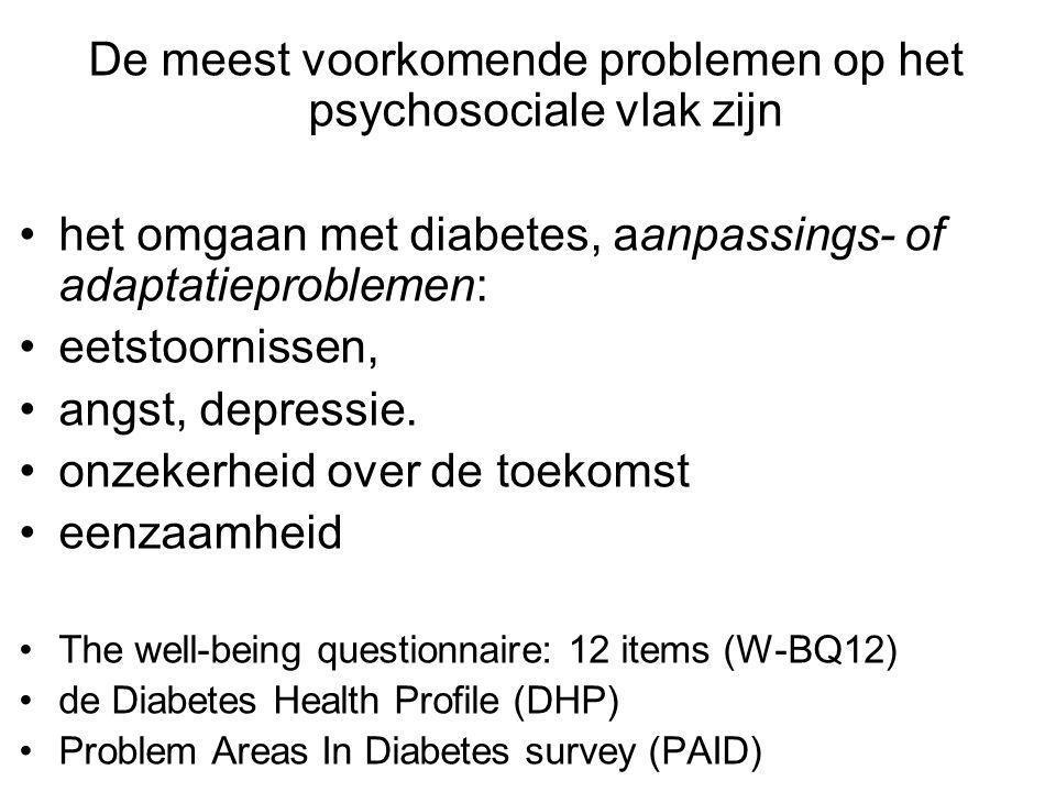 De meest voorkomende problemen op het psychosociale vlak zijn het omgaan met diabetes, aanpassings- of adaptatieproblemen: eetstoornissen, angst, depressie.