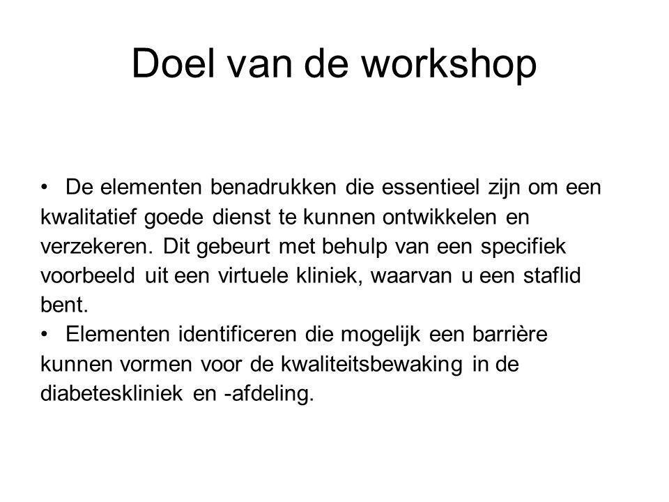 Doel van de workshop De elementen benadrukken die essentieel zijn om een kwalitatief goede dienst te kunnen ontwikkelen en verzekeren.