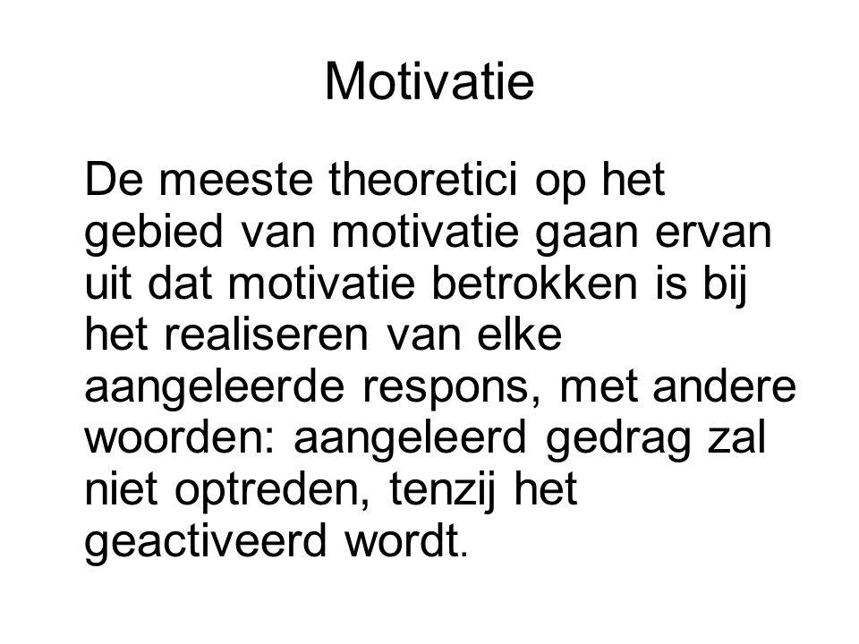 Motivatie De meeste theoretici op het gebied van motivatie gaan ervan uit dat motivatie betrokken is bij het realiseren van elke aangeleerde respons, met andere woorden: aangeleerd gedrag zal niet optreden, tenzij het geactiveerd wordt.
