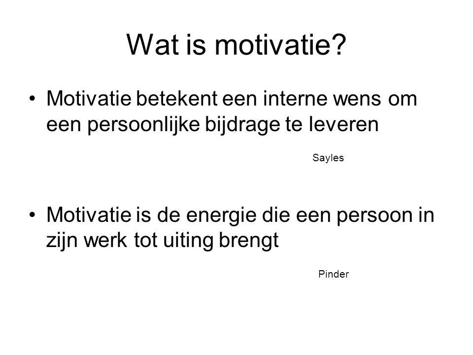 Motivatie om te leren of te veranderen Motivatie is vaak een intern proces (cognitief, affectief, conatief) Iemand moet van binnenuit gemotiveerd worden Om gemotiveerd te worden, moet je inzien dat er iets moet veranderen