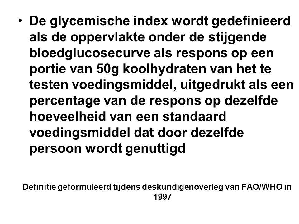 De glycemische index wordt gedefinieerd als de oppervlakte onder de stijgende bloedglucosecurve als respons op een portie van 50g koolhydraten van het te testen voedingsmiddel, uitgedrukt als een percentage van de respons op dezelfde hoeveelheid van een standaard voedingsmiddel dat door dezelfde persoon wordt genuttigd Definitie geformuleerd tijdens deskundigenoverleg van FAO/WHO in 1997