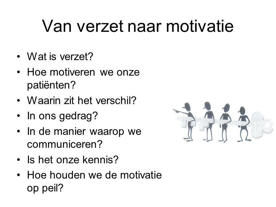 Van verzet naar motivatie Wat is verzet.Hoe motiveren we onze patiënten.