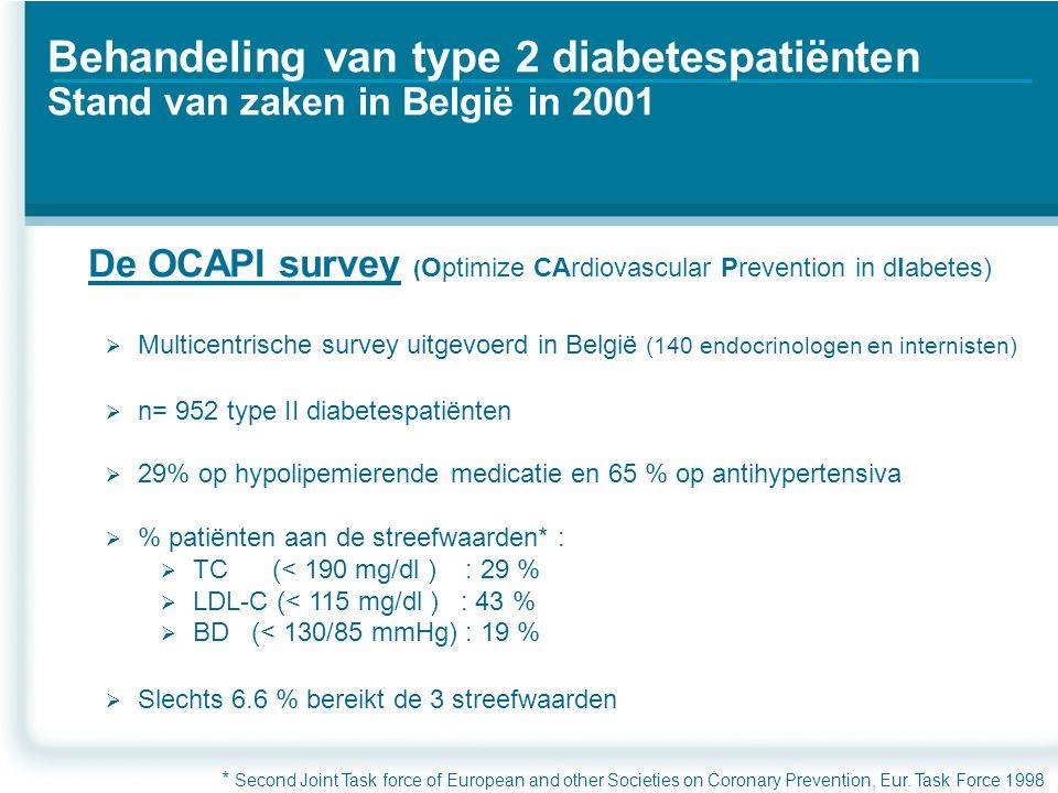 Click to edit Master text styles Second level Third level Fourth level Fifth level Behandeling van type 2 diabetespatiënten Stand van zaken in België in 2001  Multicentrische survey uitgevoerd in België (140 endocrinologen en internisten)  n= 952 type II diabetespatiënten  29% op hypolipemierende medicatie en 65 % op antihypertensiva  % patiënten aan de streefwaarden* :  TC (< 190 mg/dl ) : 29 %  LDL-C (< 115 mg/dl ) : 43 %  BD (< 130/85 mmHg) : 19 %  Slechts 6.6 % bereikt de 3 streefwaarden De OCAPI survey ( Optimize CArdiovascular Prevention in dIabetes) * Second Joint Task force of European and other Societies on Coronary Prevention, Eur.