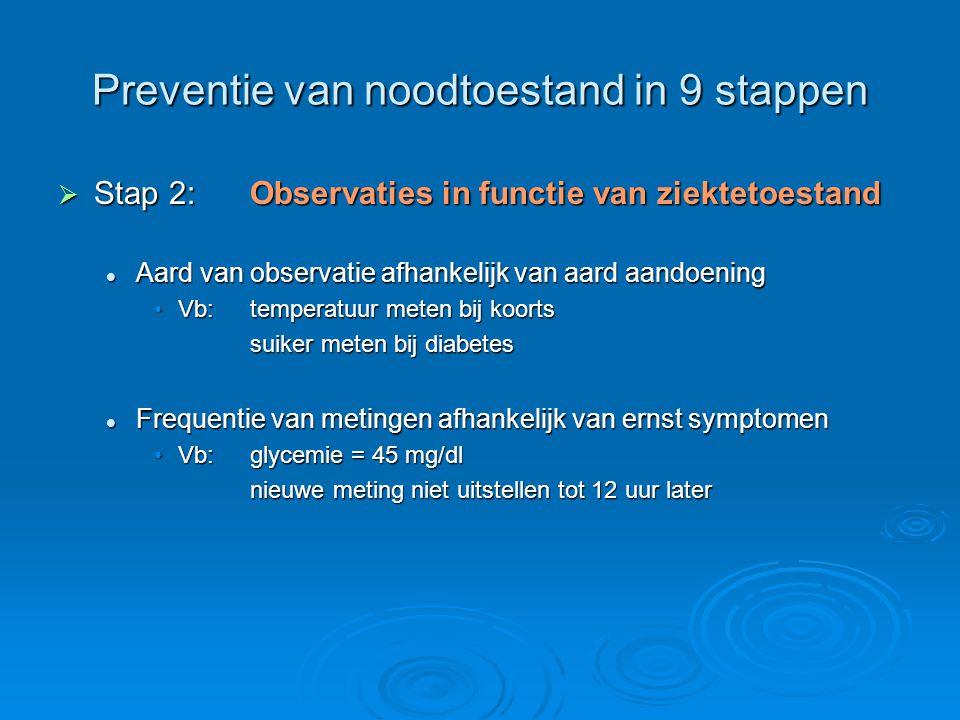 Preventie van noodtoestand in 9 stappen  Stap 2:Observaties in functie van ziektetoestand Aard van observatie afhankelijk van aard aandoening Aard va