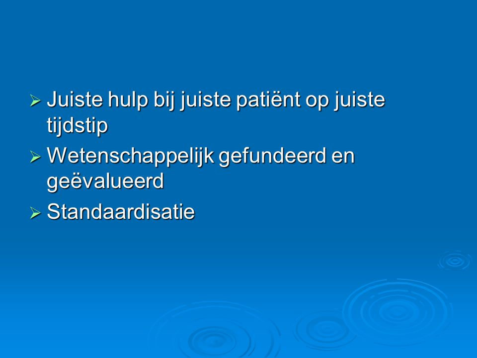  Wat kan ik doen in afwachting Fijnere herhaling van eerste beoordeling Fijnere herhaling van eerste beoordeling CirculatieCirculatie Hoe is pols van de patiënt Toestand patiënt Voorbeeld Snelheid 60 – 80 / min Normaal < 60 / min Normaal Sportman in rust Kritiek Hartprobleem, hersenbloeding > 80 / min NormaalInspanning Kritiek Koorts, bloedverlies, zuurstoftekort, hartprobleem RitmeRegelmatigNormaal onregelmatigkritiekHartprobleem SterkteVolNormaal ZwakKritiek Hartprobleem of bloedverlies