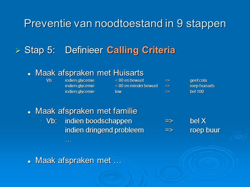 Preventie van noodtoestand in 9 stappen  Stap 5:Definieer Calling Criteria Maak afspraken met Huisarts Maak afspraken met Huisarts Vb:indien glycemie