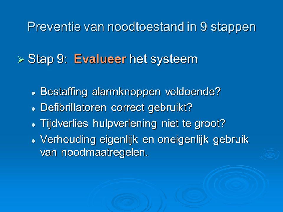 Preventie van noodtoestand in 9 stappen  Stap 9:Evalueer het systeem Bestaffing alarmknoppen voldoende? Bestaffing alarmknoppen voldoende? Defibrilla