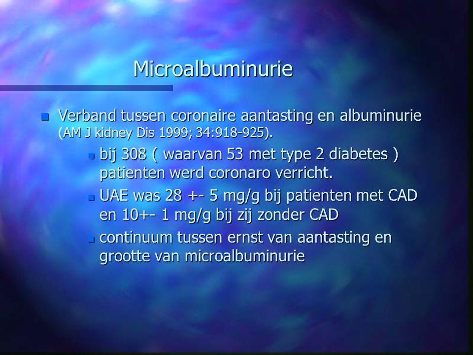 Microalbuminurie n Verband tussen coronaire aantasting en albuminurie AM J kidney Dis 1999; 34:918-925). n Verband tussen coronaire aantasting en albu