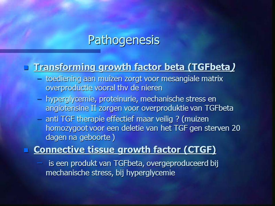 Pathogenesis n Transforming growth factor beta (TGFbeta) –toediening aan muizen zorgt voor mesangiale matrix overproductie vooral thv de nieren –hyper