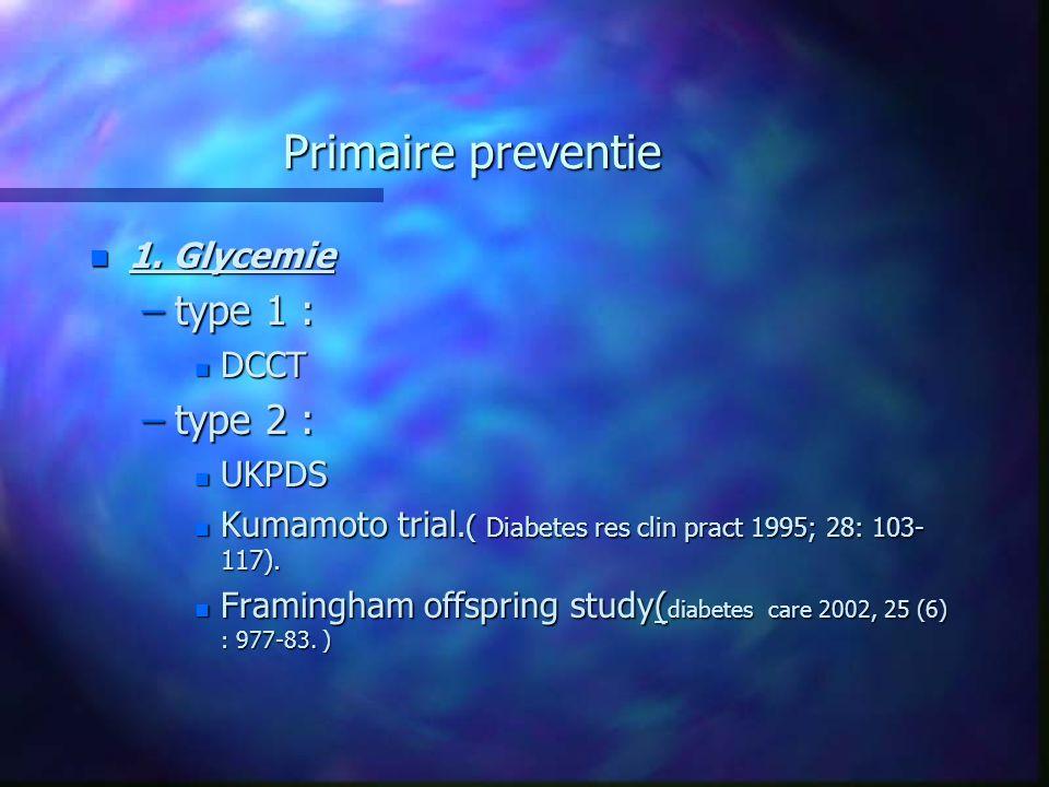 Primaire preventie n 1. Glycemie –type 1 : n DCCT –type 2 : n UKPDS n Kumamoto trial.( Diabetes res clin pract 1995; 28: 103- 117). n Framingham offsp