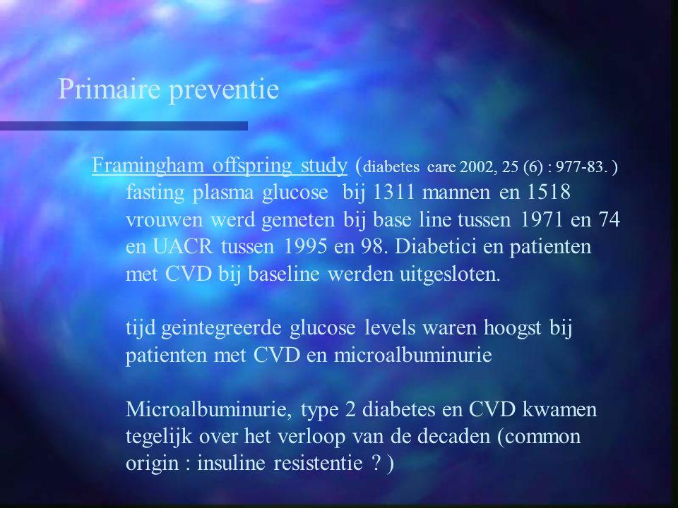 Primaire preventie Framingham offspring study ( diabetes care 2002, 25 (6) : 977-83. ) fasting plasma glucose bij 1311 mannen en 1518 vrouwen werd gem