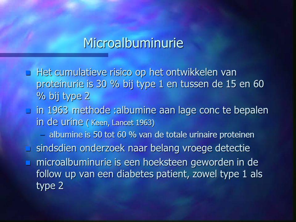 Microalbuminurie n Het cumulatieve risico op het ontwikkelen van proteinurie is 30 % bij type 1 en tussen de 15 en 60 % bij type 2 n in 1963 methode :