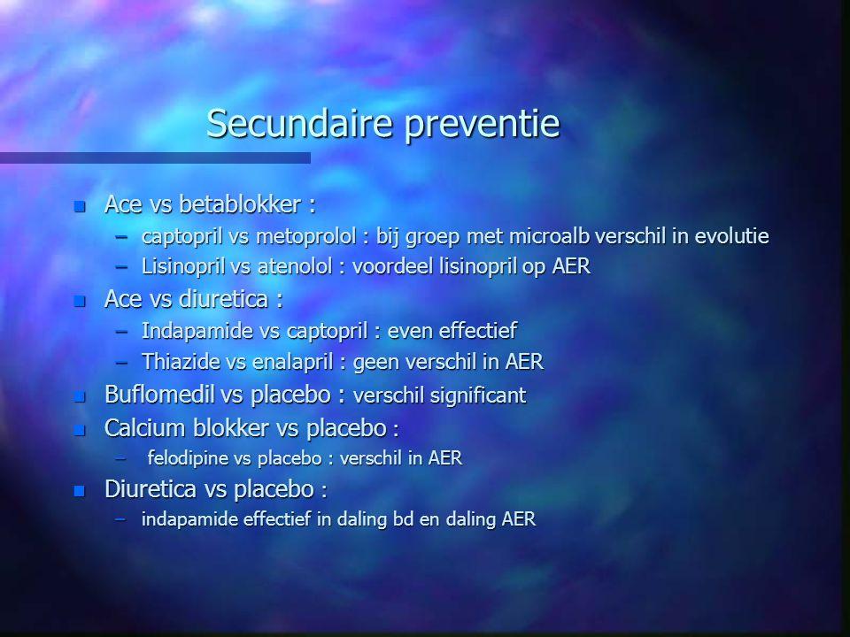 Secundaire preventie n Ace vs betablokker : –captopril vs metoprolol : bij groep met microalb verschil in evolutie –Lisinopril vs atenolol : voordeel