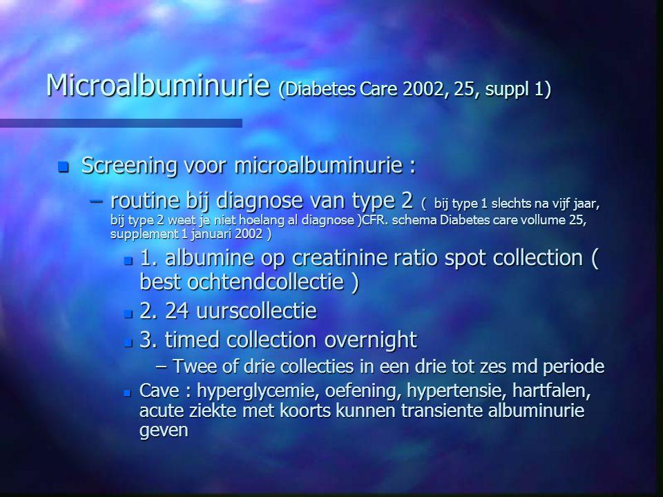 Microalbuminurie (Diabetes Care 2002, 25, suppl 1) n Screening voor microalbuminurie : –routine bij diagnose van type 2 ( bij type 1 slechts na vijf j