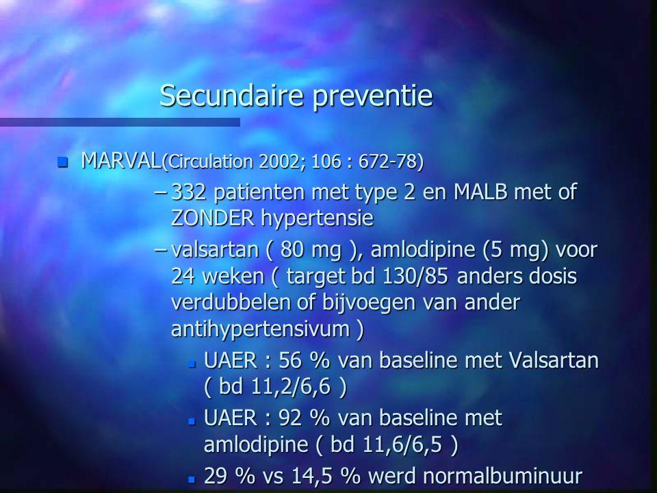 Secundaire preventie n MARVAL (Circulation 2002; 106 : 672-78) –332 patienten met type 2 en MALB met of ZONDER hypertensie –valsartan ( 80 mg ), amlod