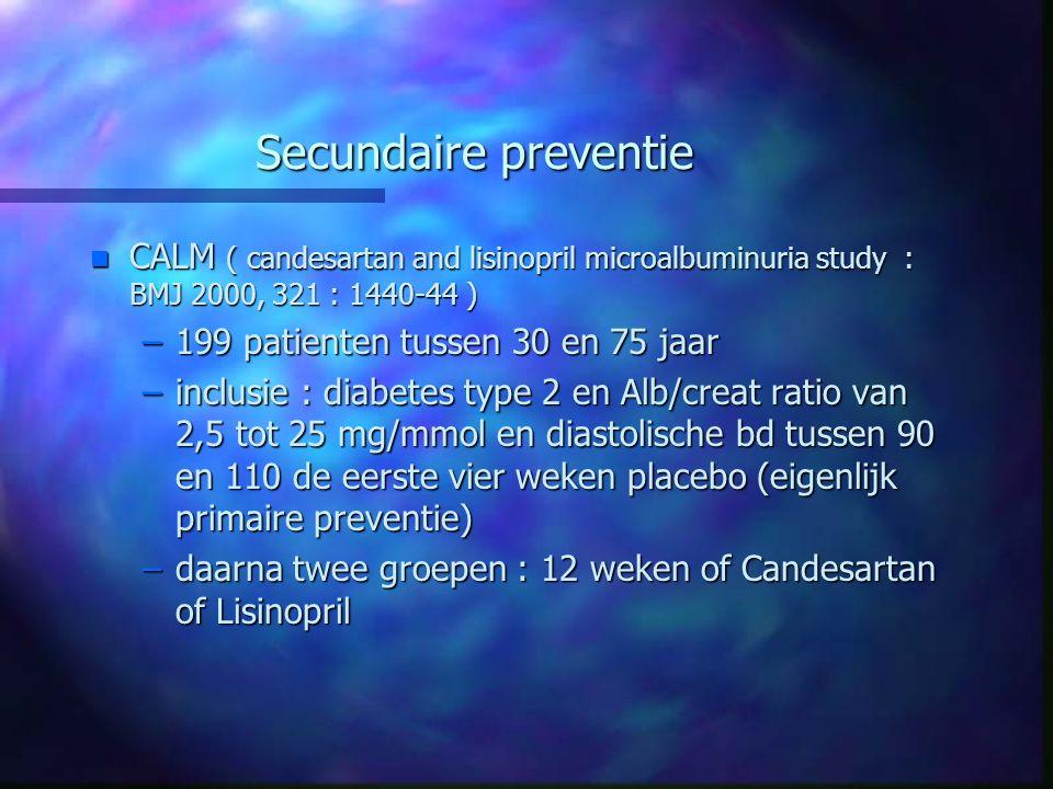 Secundaire preventie n CALM ( candesartan and lisinopril microalbuminuria study : BMJ 2000, 321 : 1440-44 ) –199 patienten tussen 30 en 75 jaar –inclu