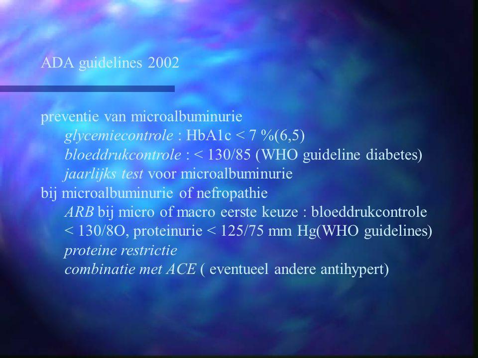 ADA guidelines 2002 preventie van microalbuminurie glycemiecontrole : HbA1c < 7 %(6,5) bloeddrukcontrole : < 130/85 (WHO guideline diabetes) jaarlijks