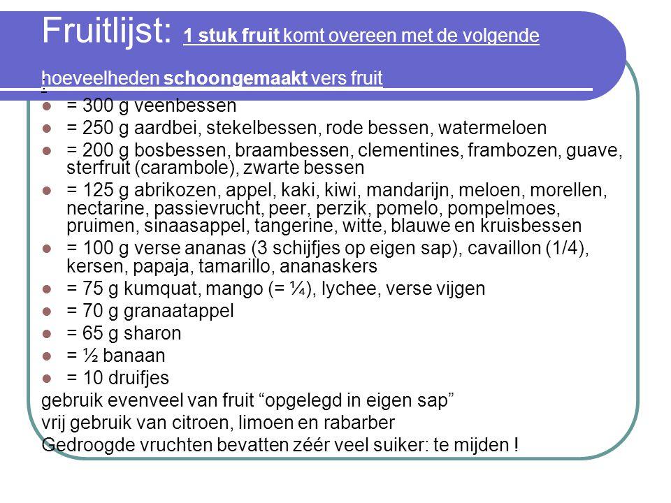 Fruitlijst: 1 stuk fruit komt overeen met de volgende hoeveelheden schoongemaakt vers fruit : = 300 g veenbessen = 250 g aardbei, stekelbessen, rode b