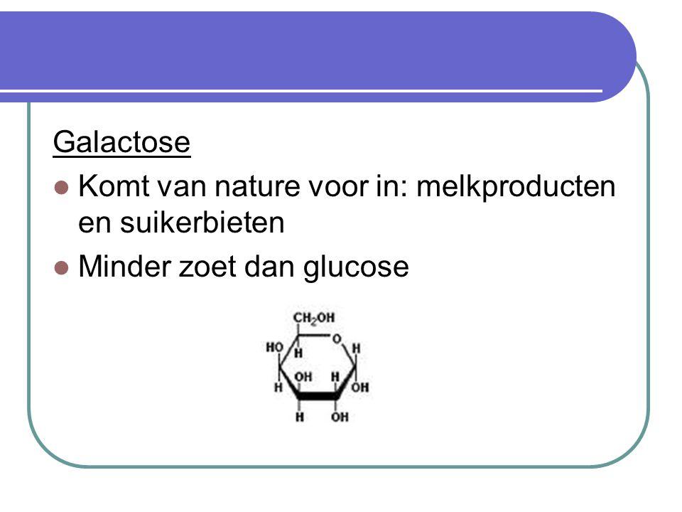 Disachariden: 2 stukjes suiker Sacharose Tafelsuiker, rietsuiker, bietsuiker Bestaat uit 1 deeltje glucose + 1 deeltje fructose