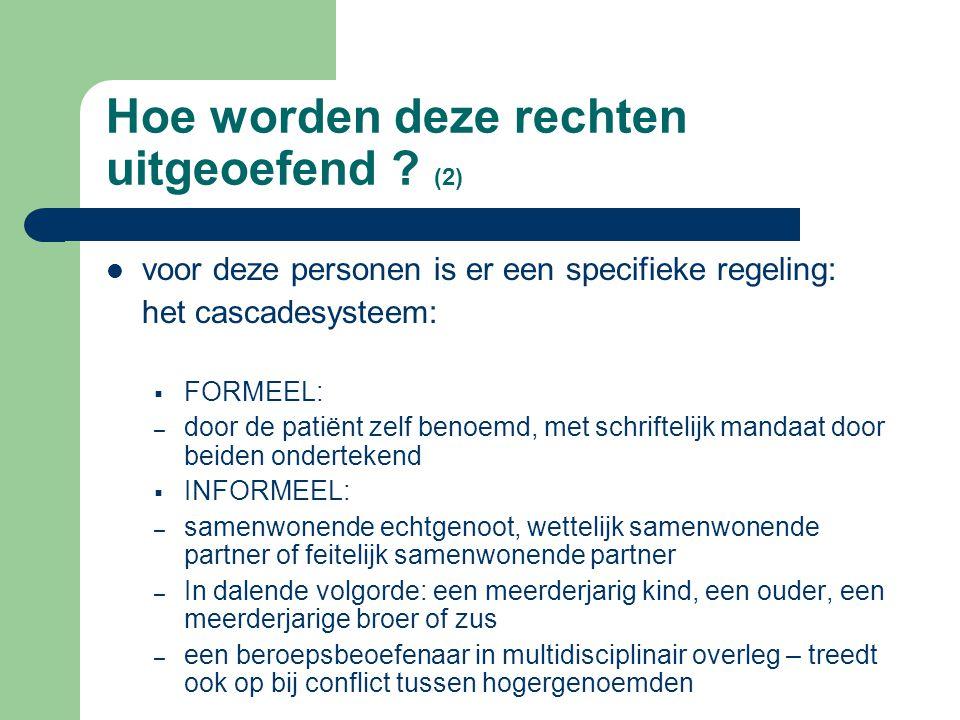 Hoe worden deze rechten uitgeoefend ? (1) in principe door de patiënt zelf voor minderjarigen of meerderjarigen die verlengd minderjarig of onbekwaam