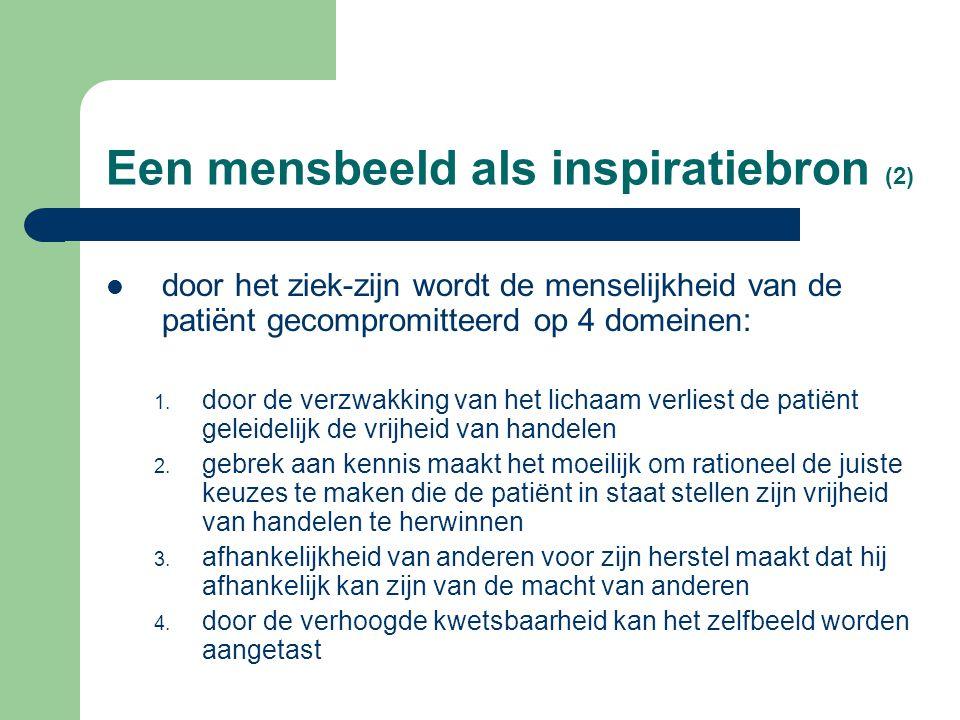 Een mensbeeld als inspiratiebron (2) door het ziek-zijn wordt de menselijkheid van de patiënt gecompromitteerd op 4 domeinen: 1.