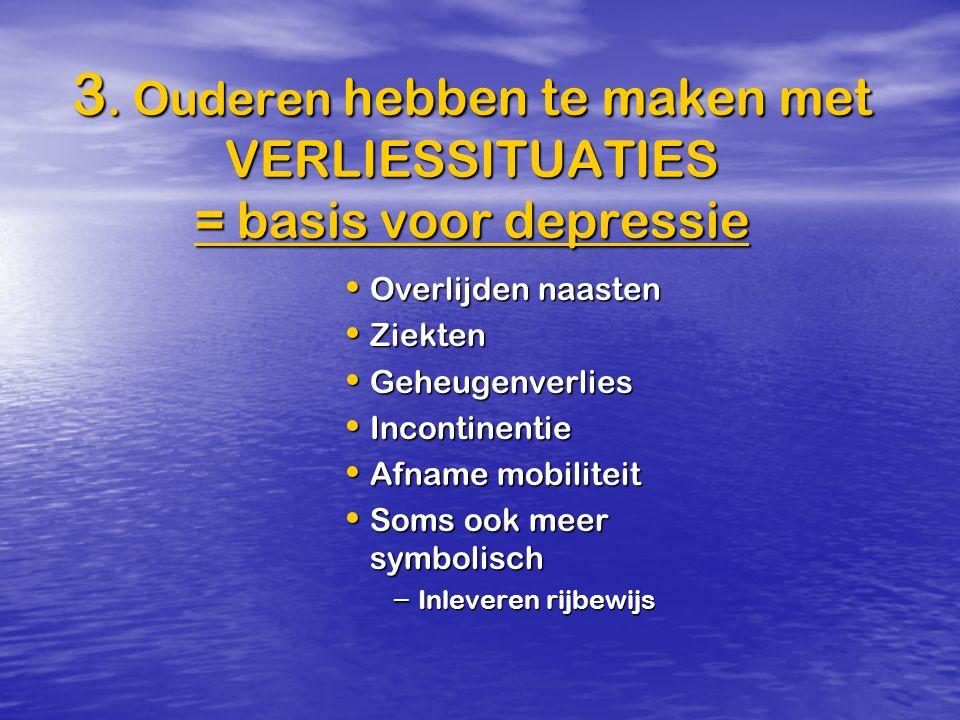 3. Ouderen hebben te maken met VERLIESSITUATIES = basis voor depressie Overlijden naasten Overlijden naasten Ziekten Ziekten Geheugenverlies Geheugenv