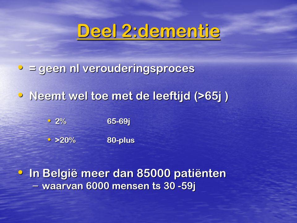 Deel 2:dementie = geen nl verouderingsproces = geen nl verouderingsproces Neemt wel toe met de leeftijd (>65j ) Neemt wel toe met de leeftijd (>65j )