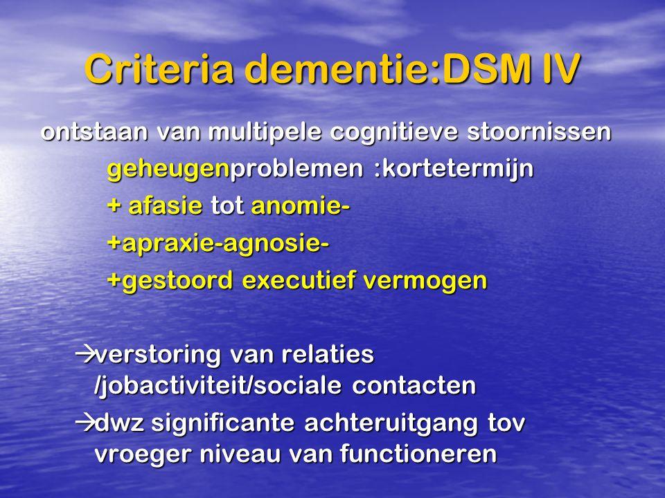 Criteria dementie:DSM IV ontstaan van multipele cognitieve stoornissen geheugenproblemen :kortetermijn + afasie tot anomie- +apraxie-agnosie- +gestoor