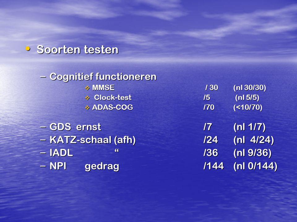Soorten testen Soorten testen – Cognitief functioneren  MMSE / 30(nl 30/30)  Clock-test /5 (nl 5/5)  ADAS-COG /70 (<10/70) – GDS ernst /7(nl 1/7) –