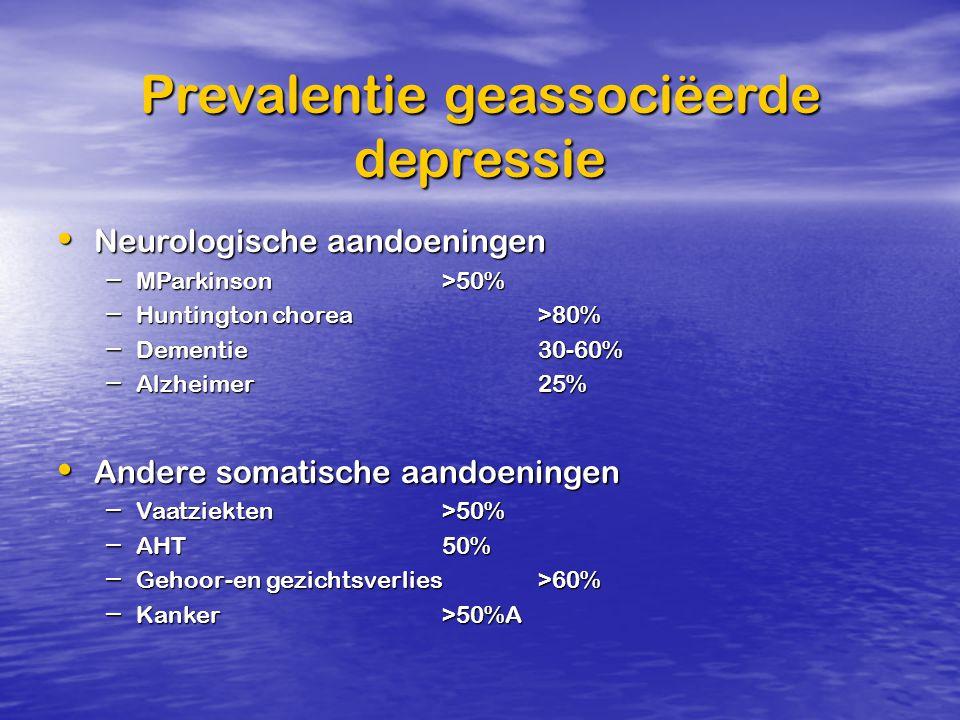 Prevalentie geassociëerde depressie Neurologische aandoeningenNeurologische aandoeningen – MParkinson >50% – Huntington chorea>80% – Dementie 30-60% –