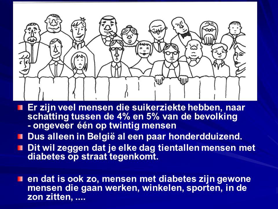 Er zijn veel mensen die suikerziekte hebben, naar schatting tussen de 4% en 5% van de bevolking - ongeveer één op twintig mensen Dus alleen in België