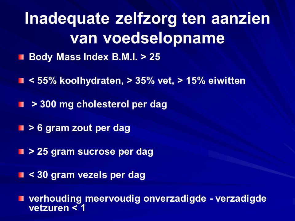 Inadequate zelfzorg ten aanzien van voedselopname Body Mass Index B.M.I. > 25 35% vet, > 15% eiwitten > 300 mg cholesterol per dag > 6 gram zout per d