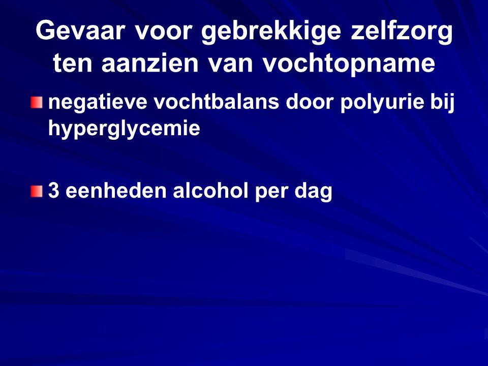 Gevaar voor gebrekkige zelfzorg ten aanzien van vochtopname negatieve vochtbalans door polyurie bij hyperglycemie 3 eenheden alcohol per dag