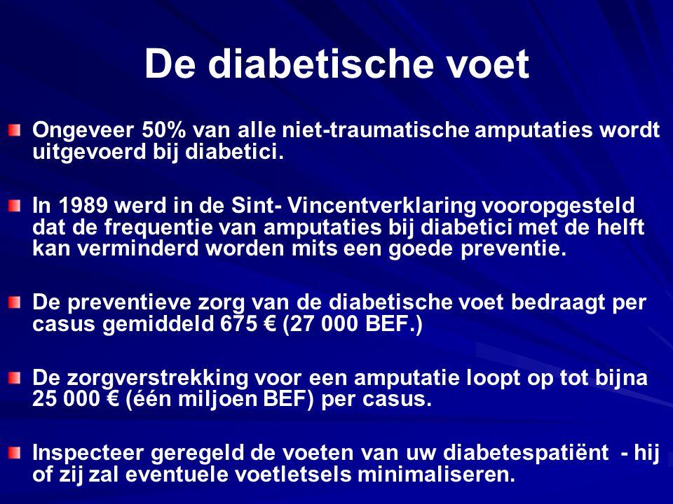De diabetische voet Ongeveer 50% van alle niet ‑ traumatische amputaties wordt uitgevoerd bij diabetici. In 1989 werd in de Sint ‑ Vincentverklaring v